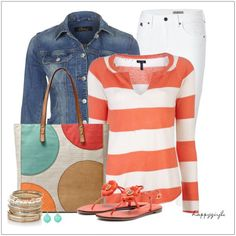 CHATA'S DAILY TIP: Summer weekends, with some cool evenings, are upon us! Take your standard denim jacket and white jeans to a stylishly new level by added a pop of colour, like we have with this gorgeous colour combination. Opt for thinner stripes if you have a fuller body shape. COPY CREDIT: Chata Romano Image Consultant, Michele Cox http://chataromano.com/consultant/michele-cox/ IMAGE CREDIT: Pinterest.