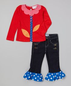 Red tunic and ruffle jeans