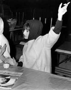 The actress Audrey Hepburn (next to her beloved friend Capucine) photographed by Roger Viollet at the Studios de Boulogne, located on Avenue Jean-Baptiste-Clément, in Boulogne-Billancourt, a French commune in the Hauts-de-Seine départment, region of...