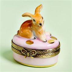 Limoges Mini Easter Rabbit on Pink with Eggs Box The Cottage Shop