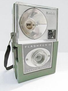 1960s green Kodak FlashFun II Hawkeye camera