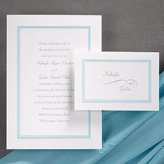 """Trimmed in Aqua  Aqua and pearl border your invitation wording on this bright white card. Highlight this enchanting color by choosing aqua ink and a matching aqua liner for a coordinating look with class.   5 1/2"""" x 7 3/4"""" (Card Invitation)"""