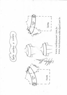 Variación tipos de cuellos - Patrones gratis Sewing Paterns, T Shirt Sewing Pattern, Pattern Drafting, Dress Sewing Patterns, Clothing Patterns, Bodice Pattern, Collar Pattern, Jacket Pattern, Sewing Basics