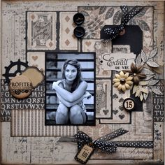 scrapbook black and whit with neutral tones by cathyscrap Scrapbook Layout Sketches, Scrapbook Designs, Scrapbook Supplies, Scrapbooking Layouts, Scrapbook Paper Crafts, Scrapbook Albums, Scrapbook Cards, Heritage Scrapbook Pages, Vintage Scrapbook