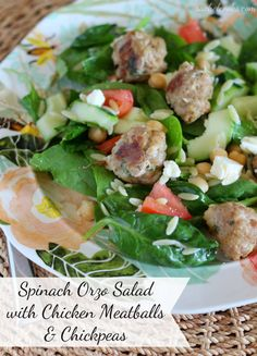 Spinach Orzo Salad with Chicken Meatballs and Chickpeas