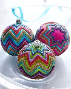 Horchow: Chevron Ornaments ~ Easy DIY