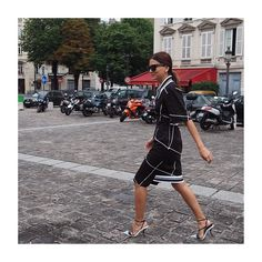 Christine wears Josh Goot Spring 2014 Clean Cotton Drill Fitted Tee Dress.