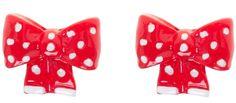 Women's Sourpuss Polka Dot Bow Post Earrings Red Retro Rockabilly Pin Up