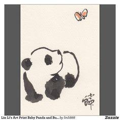 Lin Li's Art Print Baby Panda and Butterfly 130904
