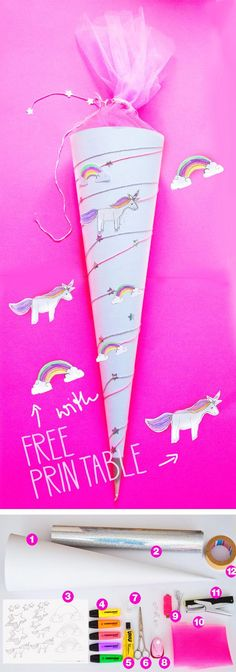 Unicorn school bag – for girls – tinker for school on the first day of school – just do it yourself! With our Free Printable Template Unicorn & amp; Rainbow expressing expression for the sugar bag – we love our Unicorn School Cone! First Day Of School, Back To School, Schultüte Diy, Diy Unicorn, School Pack, Diy School, School Bags For Girls, School Motivation, Kids Bags