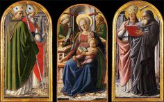 Fra FILIPPO LIPPI (1406-1469)     Triptych - Madonna and Child Enthroned with Two Angels (detail).