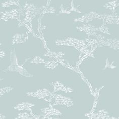 Graham & Brown Fibrous Richmond Duck Egg & White Trees & Birds Metallic Wallpaper | Departments | DIY at B&Q