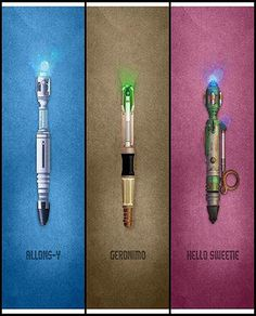 Doctor who sonic screwdriver Allons-y 3 Geronimo 3 Hello Sweetie Doctor Who Craft, The Sonic, Hello Sweetie, Don't Blink, Rose Tyler, Eleventh Doctor, Celebrity Travel, Torchwood, Geronimo