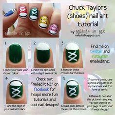 Nailed It NZ: Nail art for short nails – Chuck Taylors/shoe nails! Nailed It NZ: Nail art for short nails – Chuck Taylors/shoe nails! Cute Nail Art, Nail Art Diy, Easy Nail Art, Diy Nails, Converse Nails, Shoe Nails, Converse Shoes, Diy Converse, Converse Design