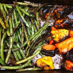 Grilled green beans & sweet pepper in soy-ginger marinade.