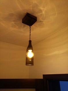 dyi lamp chandelier wooden bottle