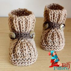 Knitting pattern: Warm Feet Baby Booties by Julia Noskova Convert to crochet. Baby Knitting Patterns, Baby Booties Knitting Pattern, Knit Baby Booties, Knitting For Kids, Crochet Patterns, Pdf Patterns, Doll Patterns, Knitted Baby Boots, Free Knitting