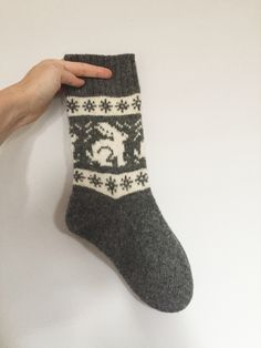 Grey wool socks featuring white rabbits/bunnies/hares and traditional fair isle pattern borders. White Rabbits, Fair Isle Pattern, Wool Socks, Hare, Christmas Stockings, Knitwear, Bunny, Friday, Cozy