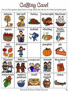 Activities FREE Thanksgiving Bingo - Create Your Own Luck FREEBIE! I'm thinking I could use the pics and adapt to preschoolThanksgiving Bingo - Create Your Own Luck FREEBIE! I'm thinking I could use the pics and adapt to preschool Speech Activities, Language Activities, Holiday Activities, Therapy Activities, Classroom Activities, Therapy Ideas, Thanksgiving Pictures, Thanksgiving Preschool, Thanksgiving Videos