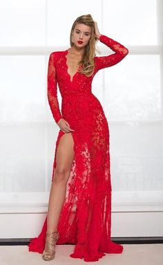 179 USD.Prom Dresses,Sexy Prom Dress, V-neck Prom Dress,Red Lace Prom Dress,Long Sleeves Prom Dress,Split Prom Dresses,Evening Dresses for Women,Prom Dresses with Sleeves