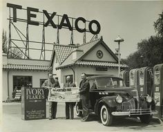 Old Texaco gas station with vintage pumps. Great sign!