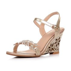 GTIME Women's Wedges Shoes Hollow-out Heels Rhinestone Sandals ** Click image for more details.