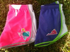 Custom State Applique Running Shorts - Lilly Pulitzer fabric.