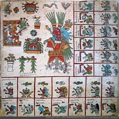 Page 16: Codex Bourbonicus - Aztec Codex from around the time of the Conquest of Mexico, either just before or just after. #CodexBourbonicus