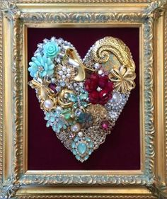 Vintage Valentine's Day Inspired Golden Heart Rhinestone Jeweled Collage Art * Brooches, Pins, Earrings, Bits & Baubles * DIY Inspiration * Perfect wall decor or framed memory piece to display jewelry of a loved one that has passed.
