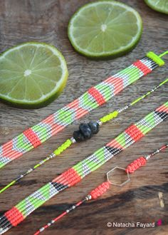 Lemon & Grapefruit - Miyuki delica and micro macrame woven bracelet - Graphic / triangle patterns.   © Natacha Fayard   #neon #yellow #orange #coral #lemon #grapefruit #miyuki #delica #woven #macrame #bracelet #wristlet#graphic #triangle