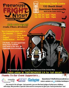 Firehouse Fright Night Bowmanville Youth Center, Fright Night, Fall Family, Family Activities
