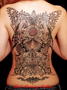 Full Henna Back Tattoo by Red Bunny Tattoo