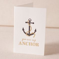 """""""You are my anchor"""" card by Smock! #valentinesday #letterpress"""
