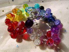Bunte Glasperlen im Tanz Fieber. Tanzende funkelnde 6mm Perlen mit dem wundervollen cracelee bilden das Armband aus hochwertigem hangearbeitetem Glas.