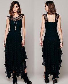 aa7ecfa999 Irregular Asymmetrical Black Lace Dress Sexy Evening Dress SD466-1