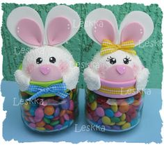 Leskka - Cute idea for a jar topper Easter Crafts To Make, Easter Projects, Bunny Crafts, Crafts To Make And Sell, Holiday Crafts, Easy Crafts, Crafts For Kids, Diy Ostern, Baby Food Jars