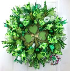 St. Patrick's Day Wreath ~ w/green ribbons & wooden shamrock center | Southern Charm Wreaths @ Etsy