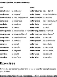 Using some adjectives with ser and estar can completely change the meaning. puppy life, cute puppy videos, puppy crying in crate some adjectives with ser and estar can completely change the meaning. Spanish Worksheets, Spanish Vocabulary, Spanish Language Learning, Spanish Grammar, Spanish Teacher, Spanish Classroom, Teaching Spanish, Spanish Activities, Elementary Spanish