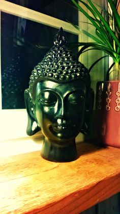 When me and my friend painted and decorated my room, my mom gave me this Buddhas head. It's plastic (or wood), but I think it is really beautiful.