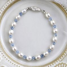 Smart Freshwater Pearl Bracelets with 925 Silver Sterling Clasp & Light Blue Crystal Bangles For Women Pearl Bracelets, Freshwater Pearl Bracelet, Pearl Necklace, Bangles, Blue Crystals, Crystal Beads, Fresh Water, 925 Silver, Beaded Jewelry