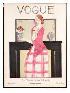Vogue Cover - August 1923 Premium giclée print van Georges Lepape bij AllPosters.nl