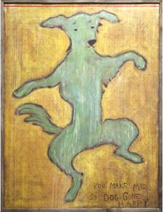 """This whimisical """"Dancing Dog"""" artwork by Sugarboo  can be purchased in the shoppes at Ashley Carol Home & Garden in historic downtown Cornelius.... ashleycarolhome@gmail.com"""