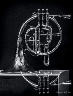 French Horn beyond a Glass Table - photograph by James Aiken  #frenchhorn #chiaroscuro #instruments #buyfineart via @jamesaiken09