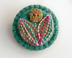 Hand Embroidered Felt Brooch with Vintage Button Flower