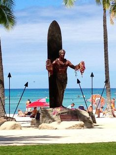 "Legendary and cultural icon Duke Kahanamoku. His achievements in surfing and swimming credited him as ""The Father of Modern Surfing"". Waikiki Beach, Oahu, Hawaii."