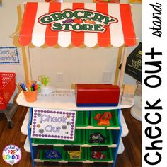 How to set it up & add literacy and math opportunities to the grocery store in your preschool, pre-k, & kindergarten classroom. Kindergarten Worksheets, Preschool Activities, Preschool Centers, Kids Worksheets, Preschool Age, Preschool Curriculum, Preschool Learning, Infant Activities, Play Grocery Store