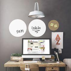 Bilé tabulové samolepky na zeď do pracovny kruhy malá sada