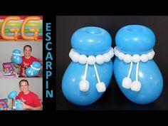 escarpines con globos para baby shower- globoflexia facil - decoración baby shower niño - YouTube