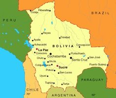 This a picture of Bolivia and it's major cities