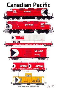 A Canadian Pacific Pacman era paint scheme train. Drawings by Andy Fletcher
